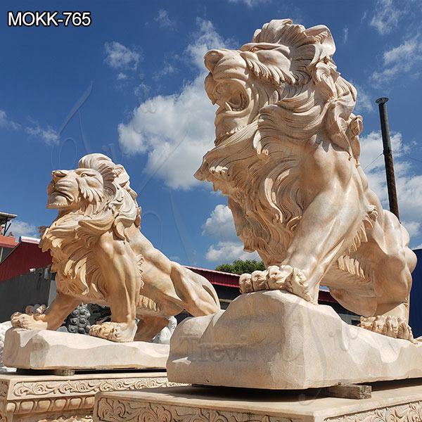 Beige Outdoor Marble Lion Statues for Sale Suppliers MOKK-765