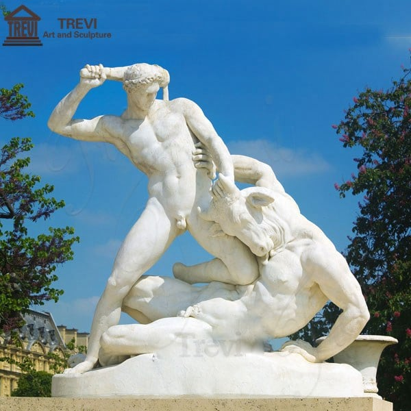 Marble Garden Statue Hercules Fighting the Minotaur for Sale MOKK-214