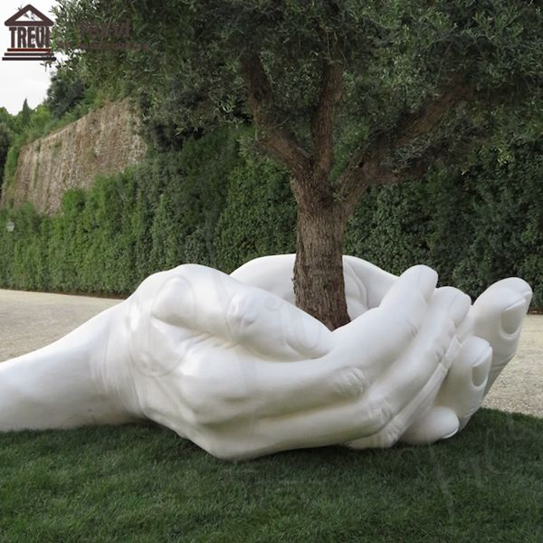 Large Size Big Hands Around Tree Marble Garden Statues for Sale MOKK-779