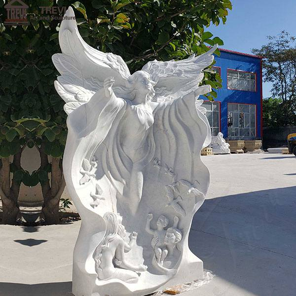 Life Size Angel Marble Garden Statue Park Decoration for Sale MOKK-777
