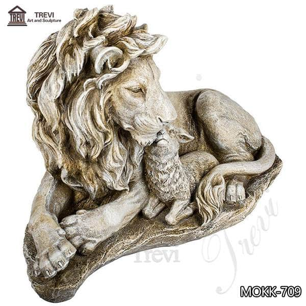 Outdoor Marble Lion and Goat statue for Sale China Factory MOKK-759