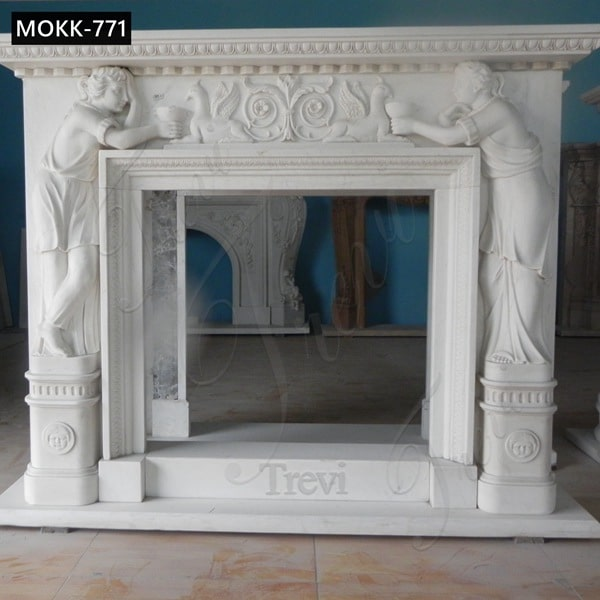 Marble Figure Fireplace Surround China Factory for Sale MOKK-771