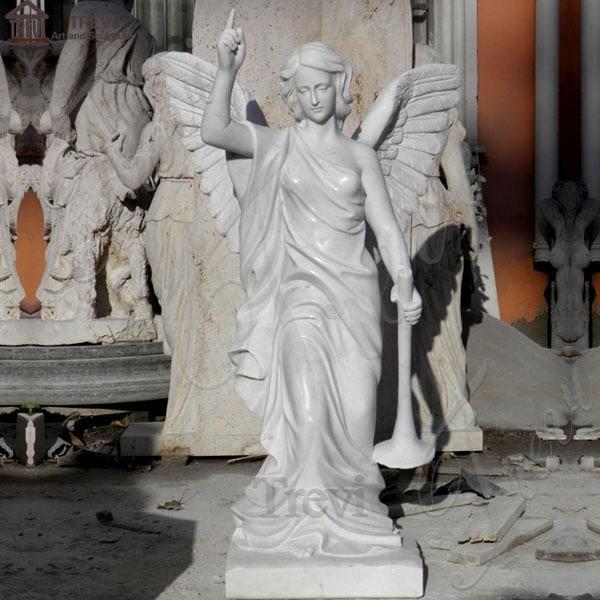 Marble Garden Statue Holding Trumpet Angel Supplier MOKK-171