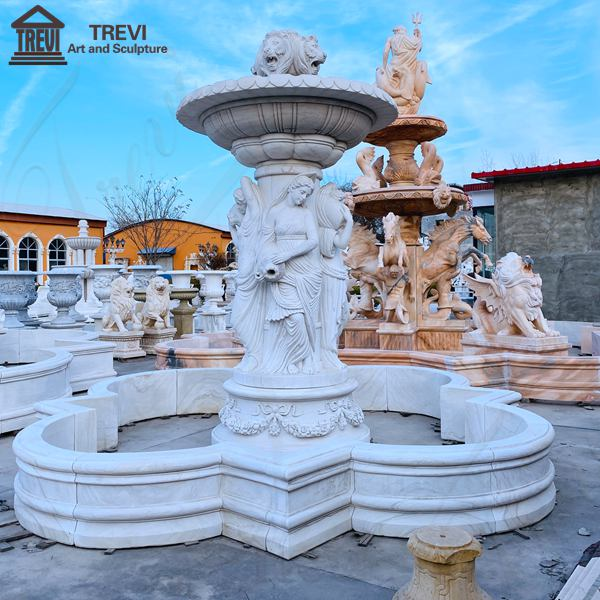 Outdoor Marble Woman Fountain with Lion Manufacturer MOKK-788