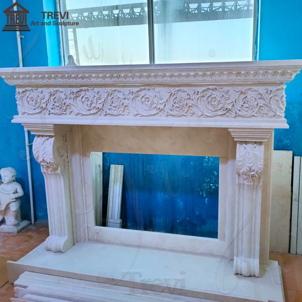 House Decor White Regency Marble Fireplace for Sale MOKK-774