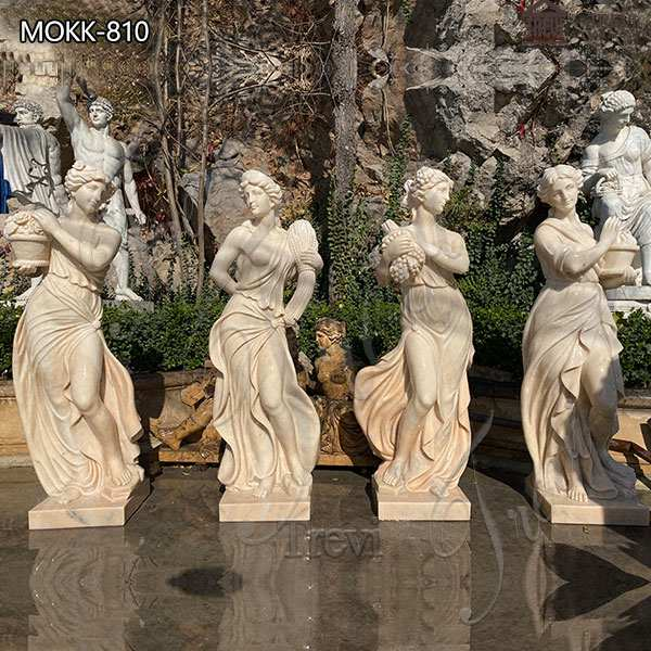 Garden Marble Statues Beige Four Seasons Goddess Sale MOKK-810