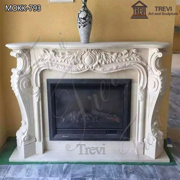 Home Decoration French White Marble Fireplace Surround for Sale MOKK-793