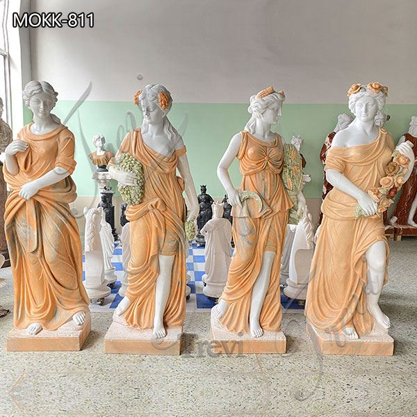 Marble Garden Statue Life Size Cream Color Four Seasons for Sale MOKK-811