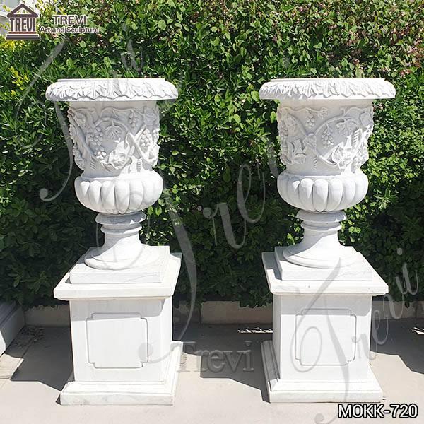 Exquisite Marble Grape Pattern Flowerpot Sculpture Garden Decor MOKK-720