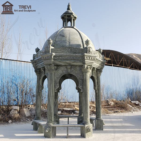 Vintage Grey Marble Gazebo Garden Decoration for Sale MOKK-808