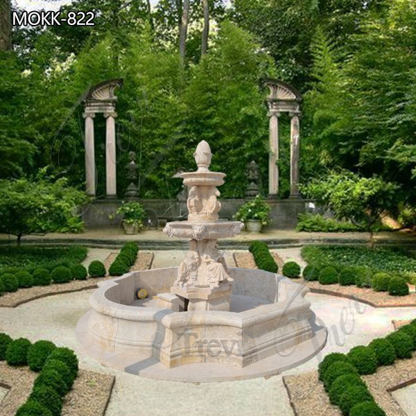 Garden Decoration Beige Marble Fountain for sale MOKK-822