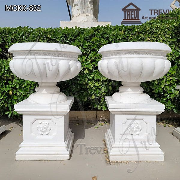 Classic White Marble Flowerpot Flower Pattern Base for Sale MOKK-832