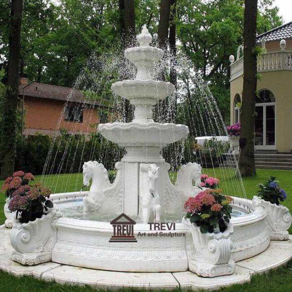 Garden Decoration Outdoor Marble Horse Fountain for Sale MOKK-734