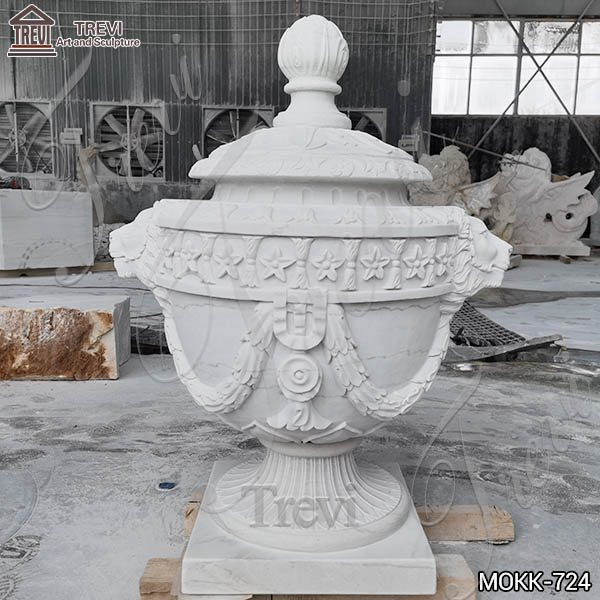 Home Decoration White Marble Lion Flowerpot for Sale MOKK-724