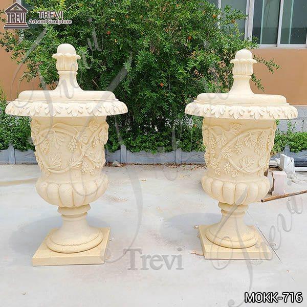 Hot Sell Antique Style Beige Marble Flower Pots MOKK-716