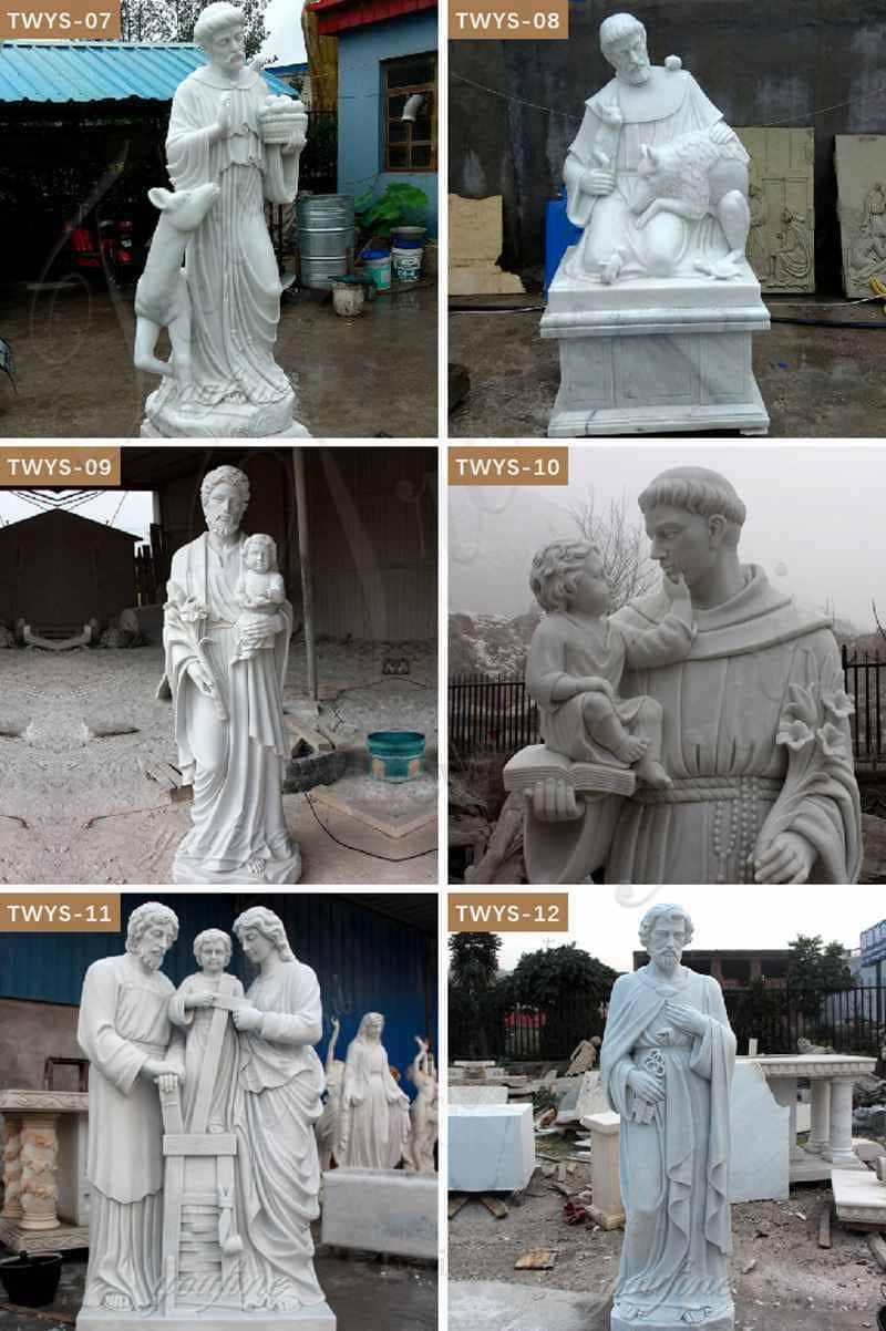 White Marble Religion St Joseph Statue
