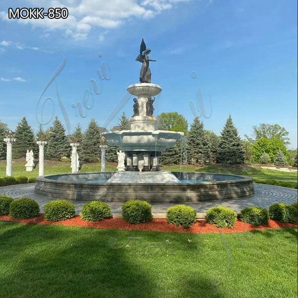 Large Marble Outdoor Fountain Bronze Angel Factory Price MOKK-850