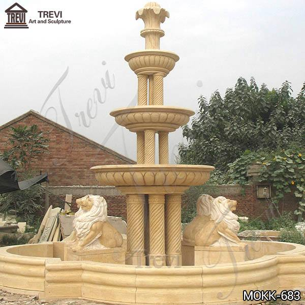 Classic Beige Marble Water Lion Fountain for Sale MOKK-683