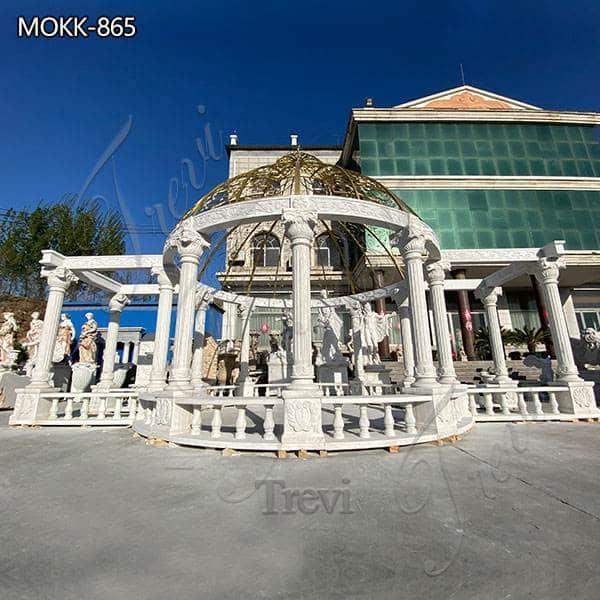 Large Garden Decoration White Marble Gazebo for Sale MOKK-865