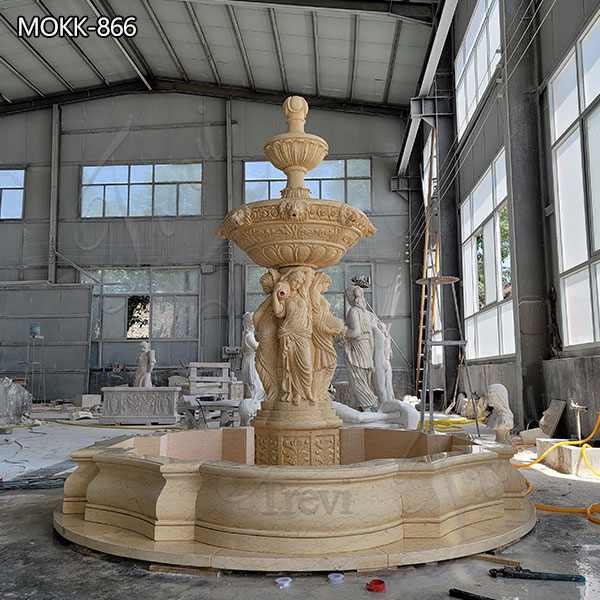 Outdoor Beige Marble Tiered Fountain Woman Sculpture Manufacturer MOKK-866