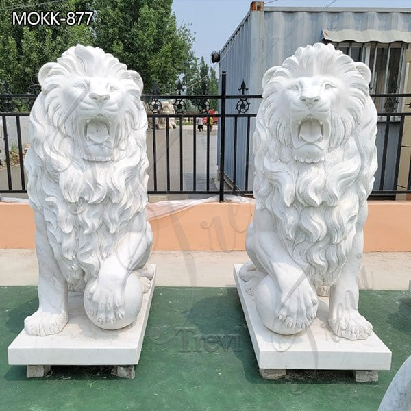 Large Marble Lion Statues Group for Sale China Factory MOKK-877