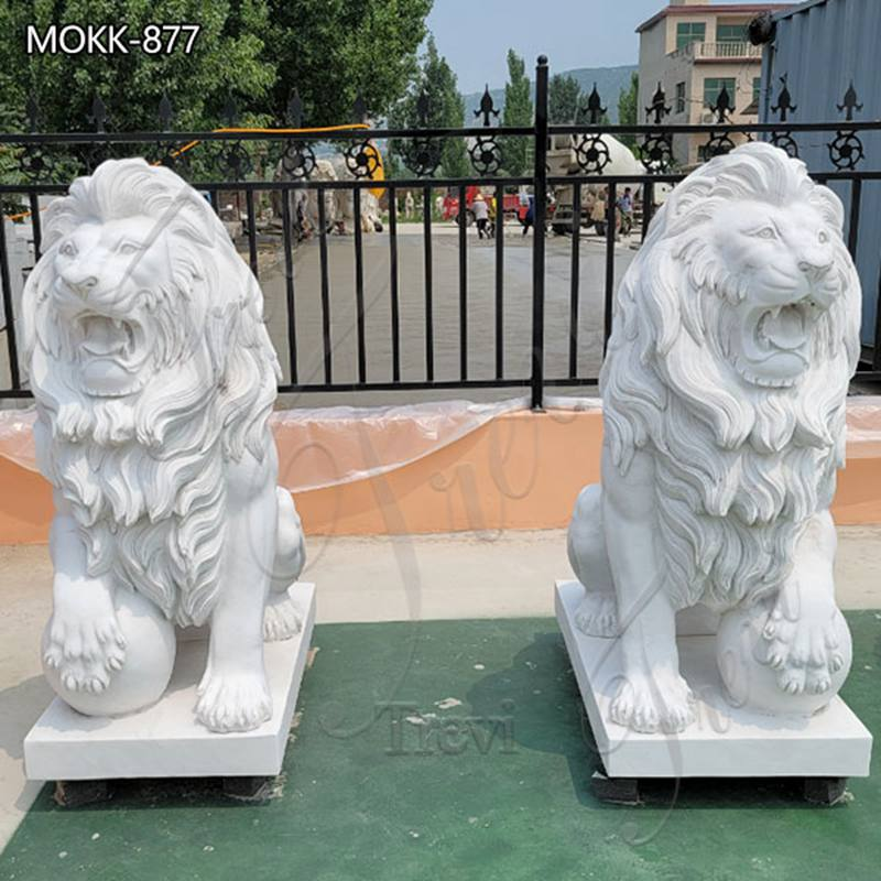 Large Marble Lion Statues Group for Sale China Factory MOKK-877 (2)