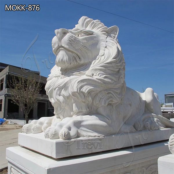 Large Marble Lying Lion Statues for Sale China Factory MOKK-876 (2)