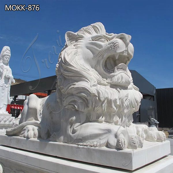 Large Marble Lying Lion Statues for Sale China Factory MOKK-876 (3)