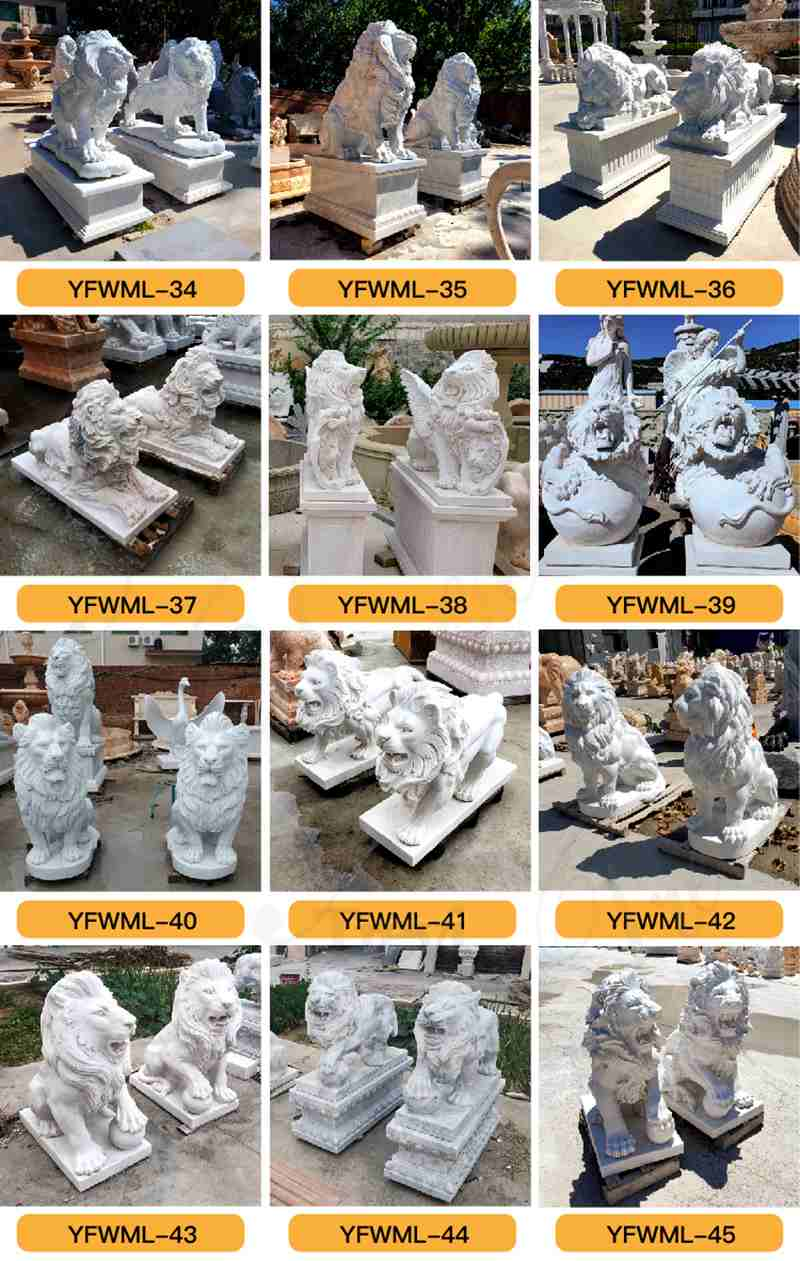 Large Marble Lying Lion Statues for Sale China Factory MOKK-876 (4)