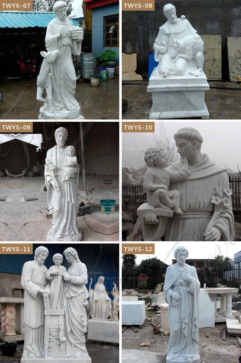 Life Size White Marble Religion St. Francis Statue for
