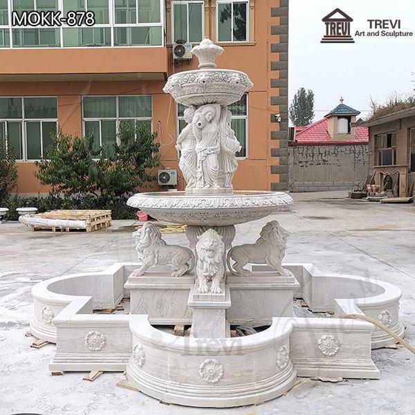 Marble Outdoor Fountain Lion Woman Sculpture for Sale MOKK-878