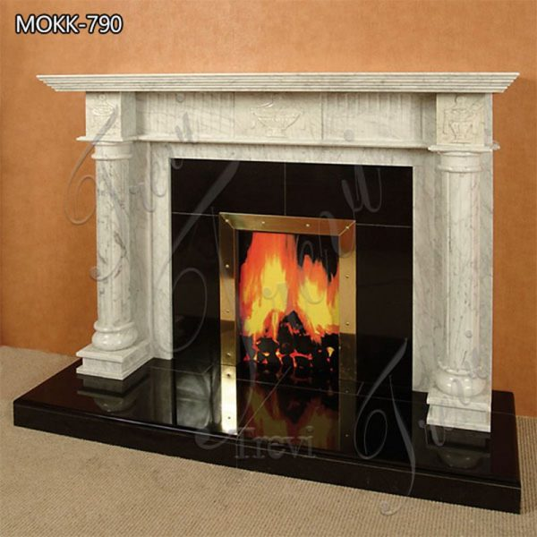Indoor Modern White Marble Fireplace Facing for Sale MOKK-790