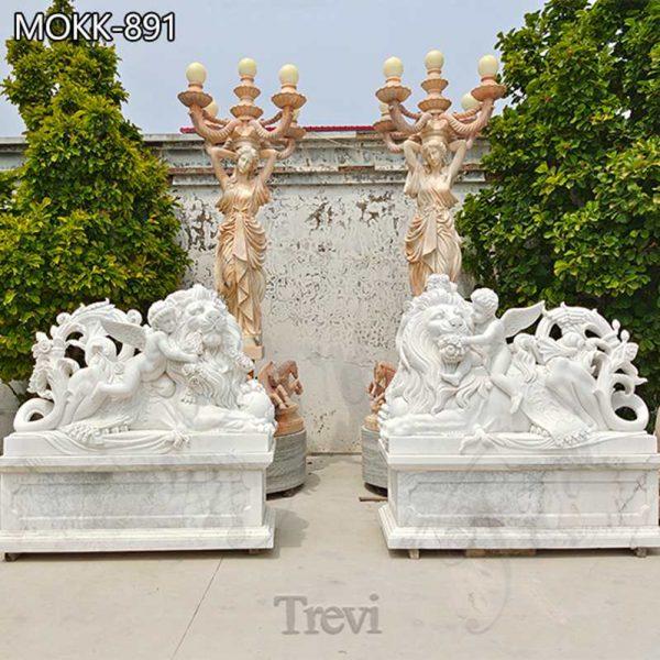 Garden Marble Lion Statues Art Decor for Sale MOKK-891